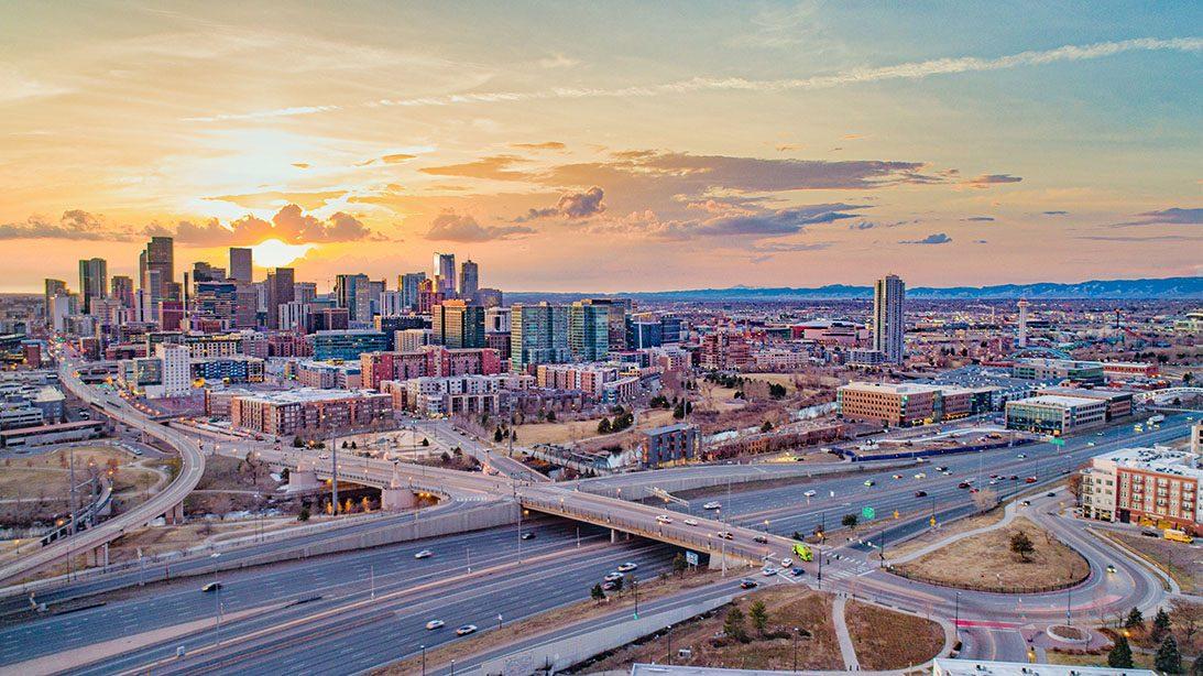 Denver Colorado CO Skyline Aerial Panorama